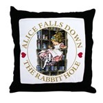 Alice Falls Down the Rabbit Hole Throw Pillow