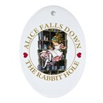 Alice Falls Down the Rabbit Hole Ornament (Oval)