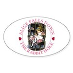 Alice Falls Down the Rabbit Hole Sticker (Oval)