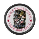 Alice Falls Down the Rabbit Hole Large Wall Clock