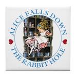 Alice Falls Down the Rabbit Hole Tile Coaster