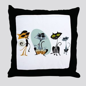 Cool Cats and Kits Throw Pillow