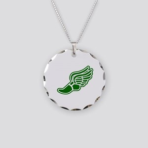 Green Winged Track Foot Necklace Circle Charm