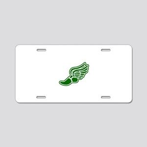 Green Winged Track Foot Aluminum License Plate