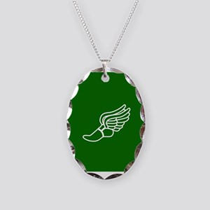 Green Winged Track Foot Necklace Oval Charm