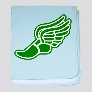 Green Winged Track Foot baby blanket