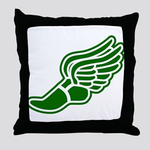 Green Winged Track Foot Throw Pillow