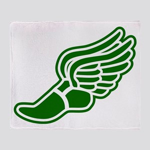 Green Winged Track Foot Throw Blanket