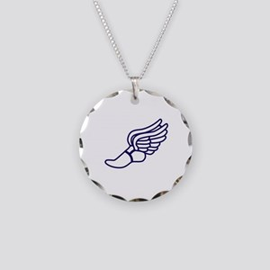 Purple Winged Track Foot Necklace Circle Charm