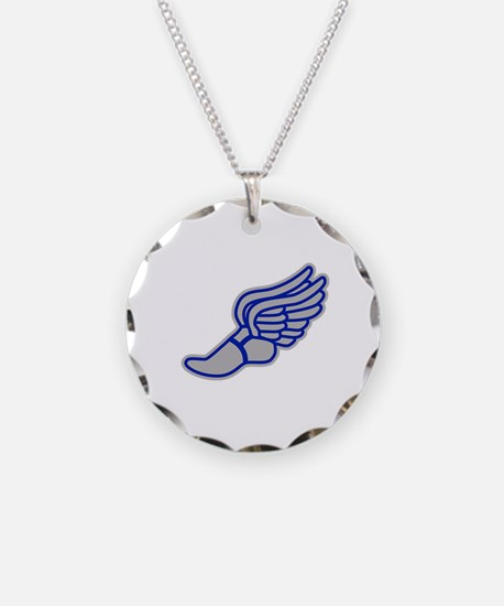 Blue & Silver Track Foot Necklace