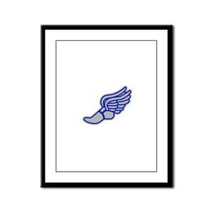 Blue & Silver Track Foot Framed Panel Print