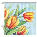 Tulips Watercolor Shower Curtain