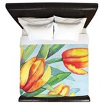 Tulips Watercolor King Duvet Cover