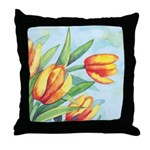 Tulips Watercolor Throw Pillow