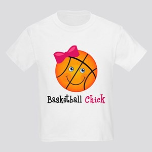 Pink Basketball Chick Kids Light T-Shirt
