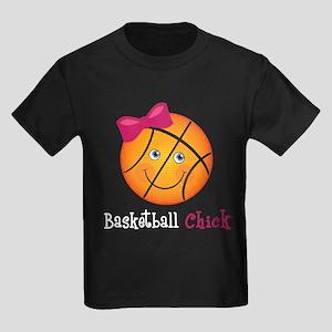 Pink Basketball Chick Kids Dark T-Shirt