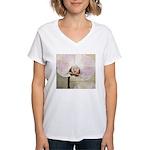 Pink Orchid Petal Women's V-Neck T-Shirt