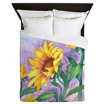 Sunflowers Watercolor Queen Duvet Cover