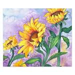 Sunflowers Watercolor King Duvet Cover