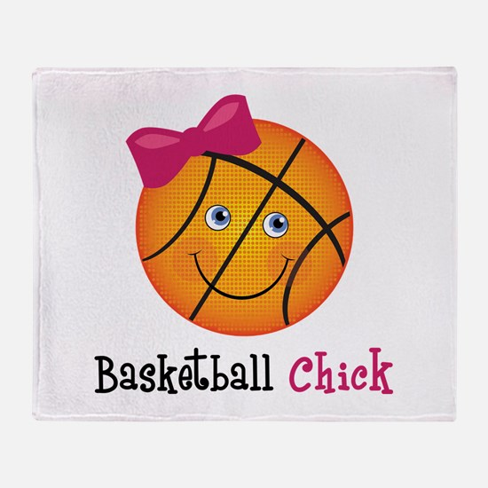 Pink Basketball Chick Throw Blanket