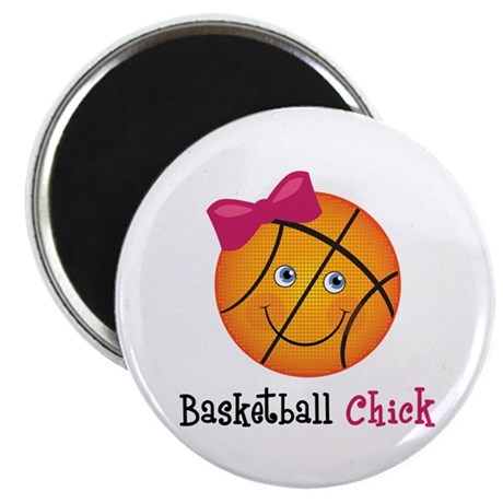 """Pink Basketball Chick 2.25"""" Magnet (100 pack)"""