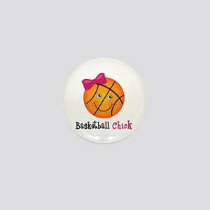Pink Basketball Chick Mini Button