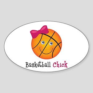 Pink Basketball Chick Sticker (Oval)