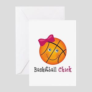 Pink Basketball Chick Greeting Card