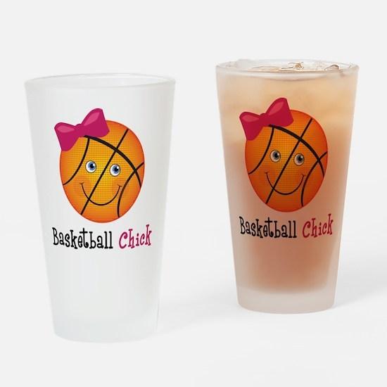 Pink Basketball Chick Drinking Glass
