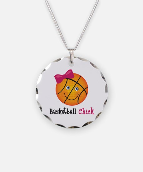 Pink Basketball Chick Necklace Circle Charm