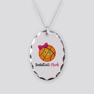 Pink Basketball Chick Necklace Oval Charm