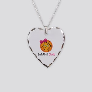 Pink Basketball Chick Necklace Heart Charm