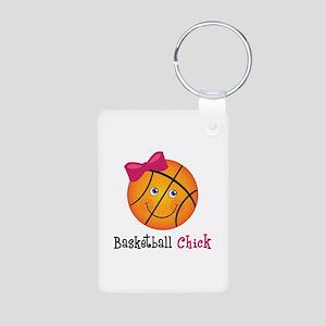 Pink Basketball Chick Aluminum Photo Keychain