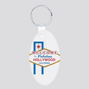 Welcome to Hollywood Aluminum Oval Keychain