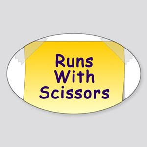 Runs With Scissors Sticker (Oval)
