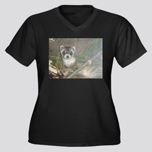 Ferrets Women's Plus Size V-Neck Dark T-Shirt