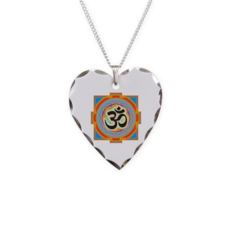 Om Necklace Heart Charm