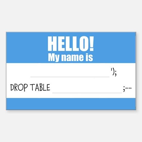 Writable SQLi Name Tag Sticker (Rectangle)