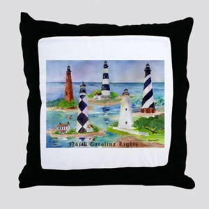 NC Light Houses Throw Pillow
