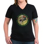 I'm Late, I'm Late! Women's V-Neck Dark T-Shirt