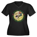 I'm Late, I'm Late! Women's Plus Size V-Neck Dark