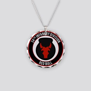 """34th Infantry """"Red Bull"""" Necklace Circle Charm"""