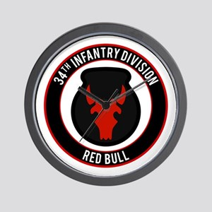 "34th Infantry ""Red Bull"" Wall Clock"