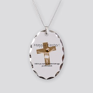 Happy Easter Jesus! Necklace Oval Charm