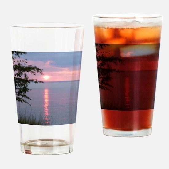 Sunset Lake Superior Drinking Glass