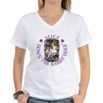Alice Down the Rabbit Hole Women's V-Neck T-Shirt