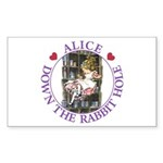 Alice Down the Rabbit Hole Sticker (Rectangle 50 p