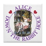 Alice Down the Rabbit Hole Tile Coaster