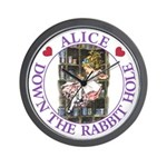 Alice Down the Rabbit Hole Wall Clock