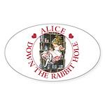 Alice Down the Rabbit Hole Sticker (Oval 10 pk)